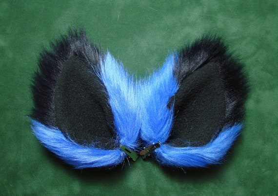 Blue and Black Fur Ears Fox Cat Wolf Coyote Dog Monster Costume Halloween Cosplay