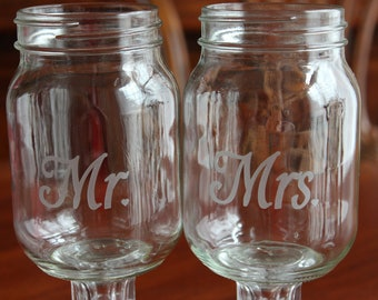 2 Redneck Wine Glass Set,  Wedding party, mason jars, 2 mason jars