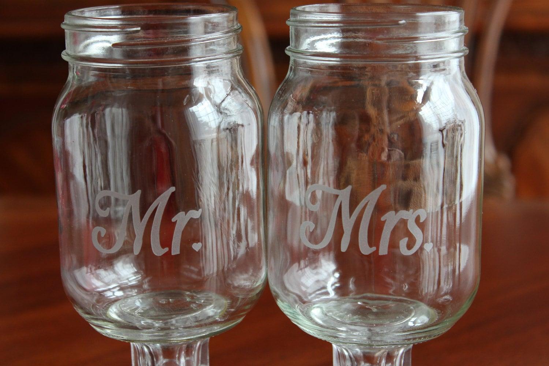 Redneck Wine Glass Set Wedding party mason jars by EngravingByT