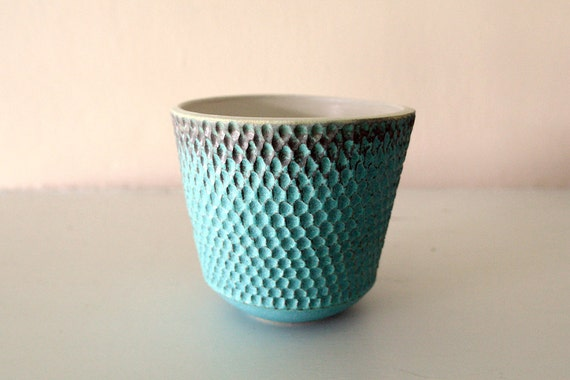 """Turquoise Stoneware Vessel Carved with Intricate Texture / Hand Thrown and Carved Art Piece / """"SISALIK"""""""