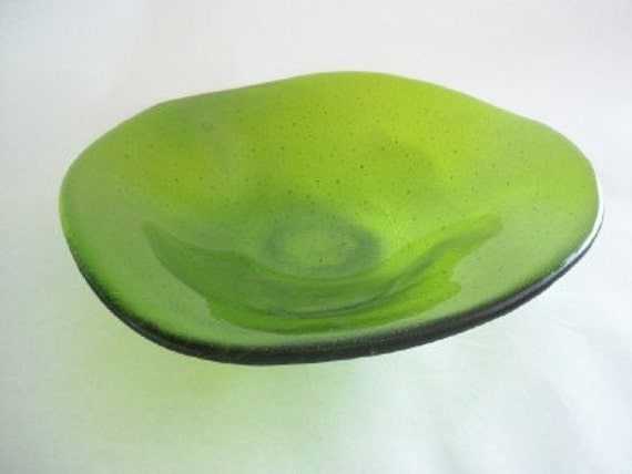 GLASS BOWL - Lime Green Freeform Wave Fused Glass Bowl