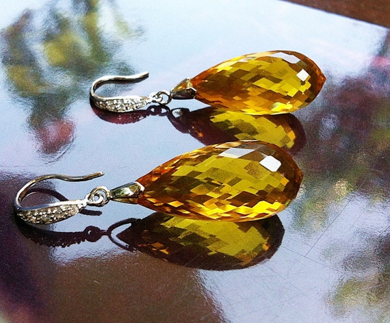 Luxury Citrine Stone Earrings Sterling Silver Pave