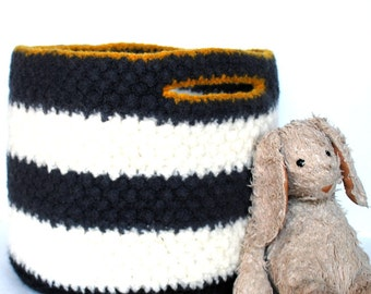 Kids Storage Basket - Wool Felt Basket - Pewter And White Striped With Black Bottom And Mustard Yellow Trim