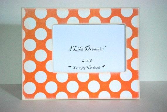 Orange Polka Dot Picture Frame