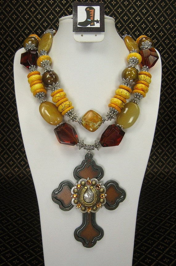 Yellow / Gold / Amber Chunky Western Cowgirl Necklace with Large Cross Pendant   -  SuNSeT TRaiLs