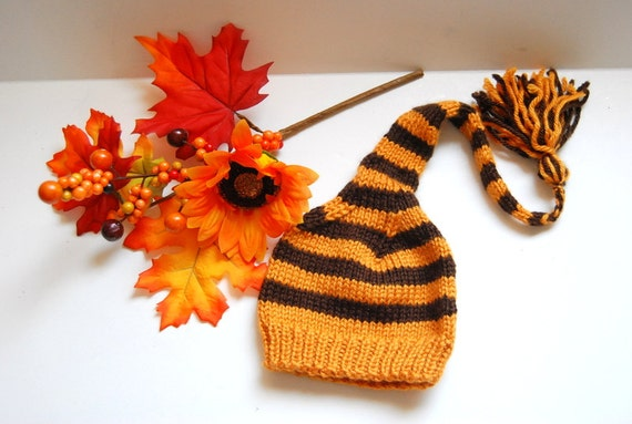 Sale Hand knit Striped baby  hat Elf Pixie Fab  Fall Thanksgiving in orange and brown 0-3m  Ready to ship Made in Colorado Photo prop