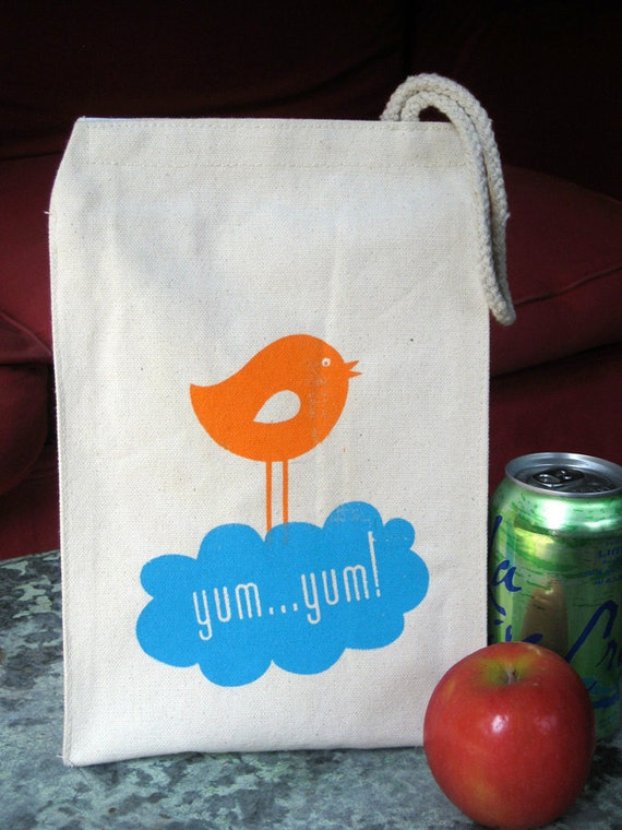 Lunch Bag - Reusable, Recycled Cotton - yum yum bird