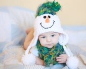 Snowman Hat and Scarf Set - Christmas Photo Prop