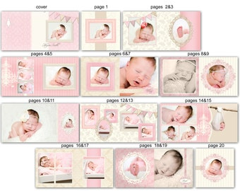 INSTANT DOWNLOAD - 10x10 Baby Album template - Clara - 0340 FA