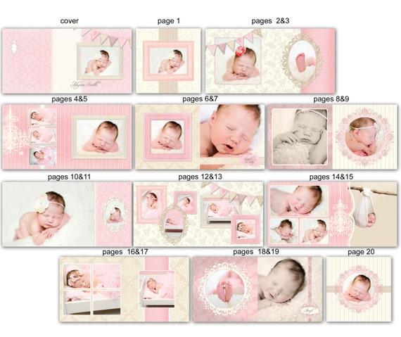 INSTANT DOWNLOAD - 10x10 Baby Album template - Clara - 0340 FA