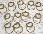 Vintage Brass Heart Charm Holder Pendants - 12 count