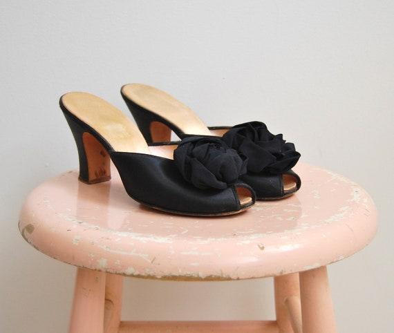 Vintage 1950s 1960s Daniel Green Slippers 50s 60s Black