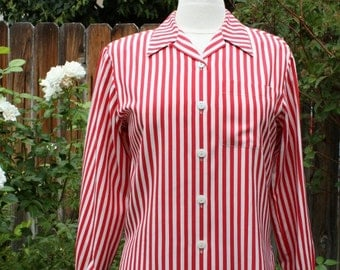 1990s Silk Striped Blouse Shirt Top Red and White Vintage Retro 90s Hipster Candy Cane Liz Claiborne Patriotic 4th of July  Small Size 2