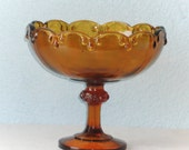 Vintage Amber Glass Compote by Indiana Glass Company