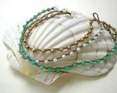 Surfer chic crochet anklet - Golden Beachcomber- Bohemian beach jewelry under 25, metallic gold, summer Boho fashion, waterproof