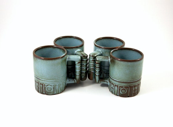 Four Frankoma C4 Mayan-Aztec Mugs in Woodland Moss
