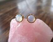 Milky Glass Opal Stud Earrings