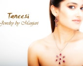 Sterling Silver Chain Pendant Necklace,Red Ruby Pendant, 925 Silver Fine Jewelry ,Flower pendant,Minimalist jewelry by TANEESI
