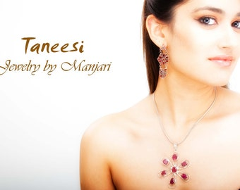 Silver Pendant Necklace,Red Ruby Pendant, 925 Silver Fine Jewelry ,Flower pendant,locket by TANEESI