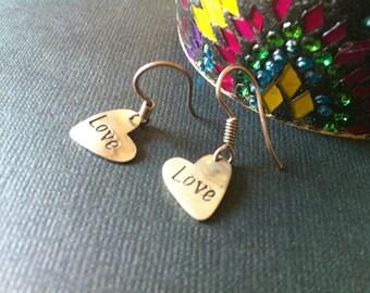 HEART Earrings,925 Sterling Silver,VALENTINE GIFT, Hand stamped Earrings,Heart Earrings, Love Sentiment Earrings Taneesi Jewelry