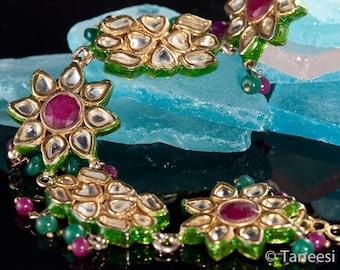 Bracelet Royal,Kundan Jewellery,CLEOPATRA  BRACELET, kundan Jewelry,Gold plated, rubies, artisan bracelet, Taneesi Jewelry on Etsy