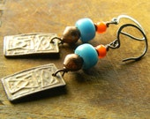 Tribal Copper Earrings African Trade Beads OOAK