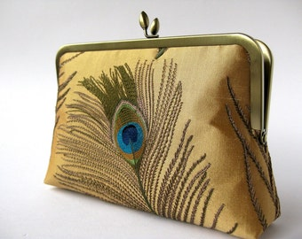 Gold Peacock Embroidered Silk Clutch ,Bridal clutch, Evening purse, Bridesmaid clutch, Wedding clutch by Bag Noir