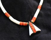 Vintage 1970s Mens Shell Choker Necklace Triangle surfboard pendant