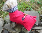 Small  Dog Red Toggle Trench Coat