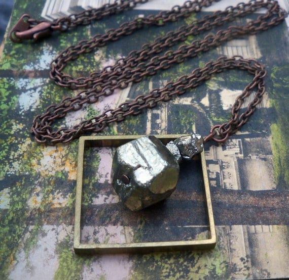pyrite necklace / brass square necklace / geometric jewelry / PYRITE & BRASS SQUARE