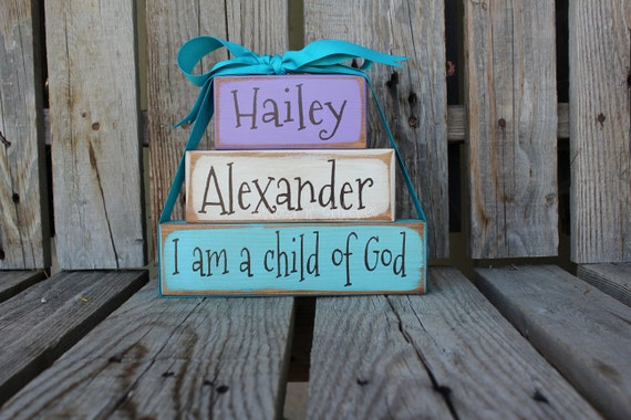 Personalized Name Wood Stacker block set religious faith nursery baby kids room birthday gift home decor primitive personalized block set