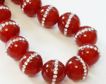 Orange Carnelian Round Beads - Embedded Inlaid Rhinestone - Smooth Natural Stone - 14mm - 2 Beads - Jewelry Project - Bulk Beads