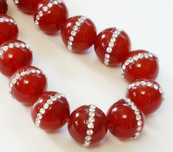 Orange Carnelian Round Beads - Embedded Inlaid Rhinestone - Smooth Natural Stone - 14mm - 2 Beads - Jewelry Project - Bulk Beads