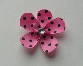 Pink with black polka dot large flower hair alligator clip with clear bling faceted rhinestone