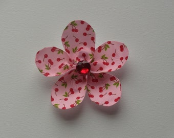 Pink with cherries large flower hair alligator clip with red bling faceted rhinestone