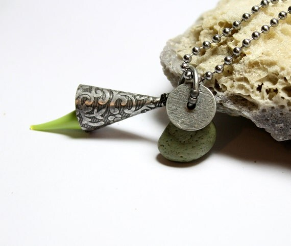 Silver Stone Jewelry- Lime Metal Slag Glass Industrial Necklace- Drilled Seaglass Jewellery Bead by Allybeans