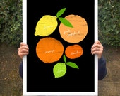 "Art for kitchen Citrus Love Black Poster print  20""x27"" - archival fine art giclée print"