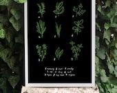 "Kitchen Art Print Herbs 11""x15 Botanical Chart Mediterranean Black Garden - archival fine art giclée print"