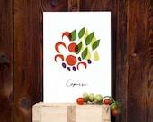 Italian Kitchen Art print Insalata Caprese WHITE / high quality fine art print