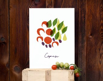 Italian Kitchen Art print Insalata Caprese WHITE / high quality fine art print