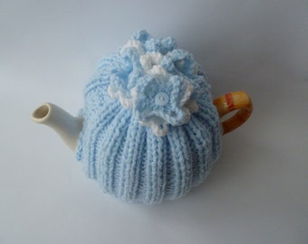 tea cosy cosie cozy  hand knitted with flowers