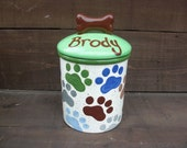 Custom Paw Prints Dog Bone or Treat Ceramic Canister with Bone Lid - Pick Your Colors - Blues, Greens, Browns