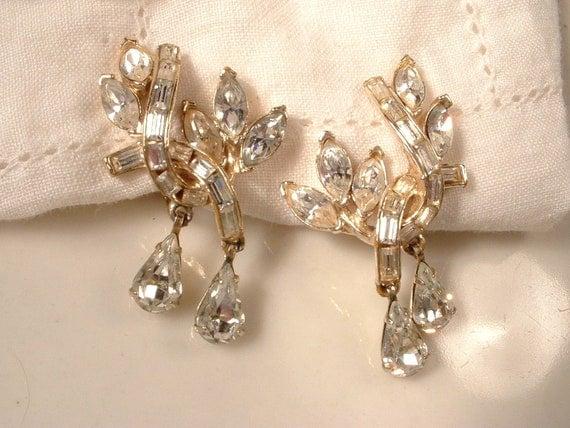 Vintage CORO Art Deco Crystal Rhinestone Gold Dangle Earrings EXQUISITE