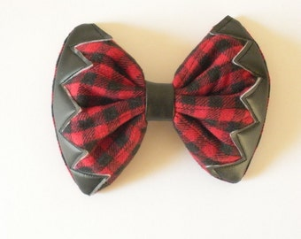 Red And Black Hair Bow, Fall Accessory, Hunting and Fishing Trend