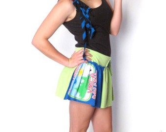HYPERCLASH Circle Mini Skirt Small 6 YMCA Camp Royal Blue Lime Womens Recycled Deconstructed Reclaimed Upcycled Eco Friendly Fashion Design
