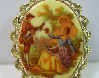 Vintage  portrait cameo.  Greek Lovers