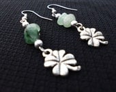 Clover Leaf Lucky Earrings, Green Aventurine, Wire Wrapped Crystal Earrings, Luck, Prosperity, Abundance