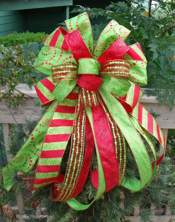 Christmas Tree Bow Bow Topper Wreath Bow Treetop By