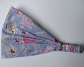 Cotton Yoga Headband - Gypsy Mum Periwinkle - Amy Butler fabric 01/08