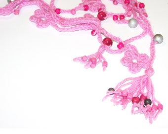 Crochet Necklace, Sweet Pink Flower Necklace with Silver Gray and Pink Wooden Ball Beads OOAK